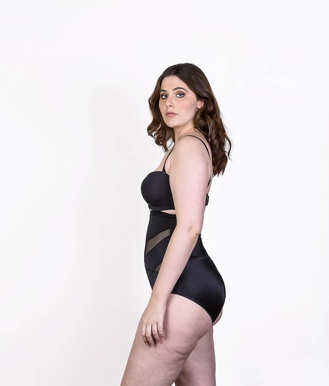 Culotte gainante soyeuse Noire Profil