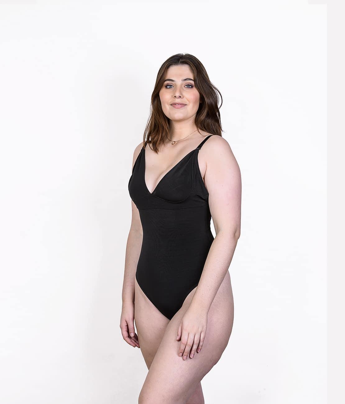 Body String Femme Noir Trois Quart Face